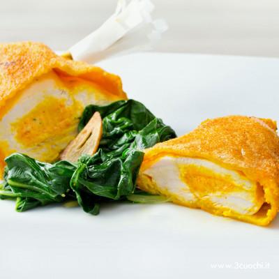 Petto di pollo farcito e biete allo Zafferano 3 Cuochi