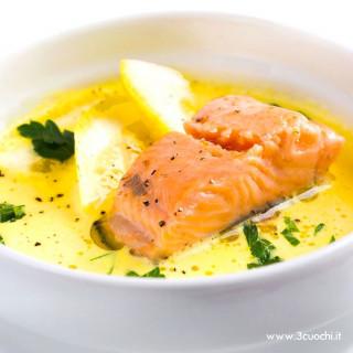 Crema gialla con trota salmonata