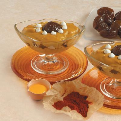 Crema allo zafferano con marron glaces