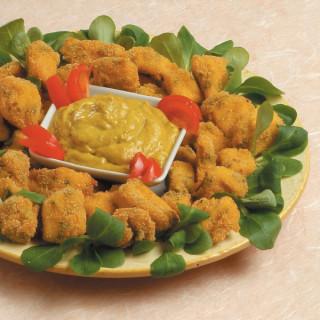 Crocchette di pollo con salsa di melanzane allo zafferano