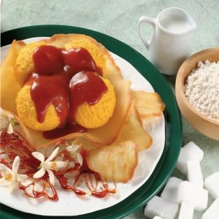 Gelato allo Zafferano con salsa al Caramello