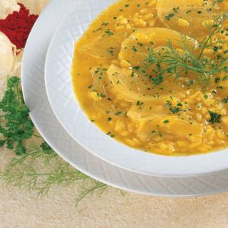 Zuppa di Riso con crema di Finocchi allo Zafferano
