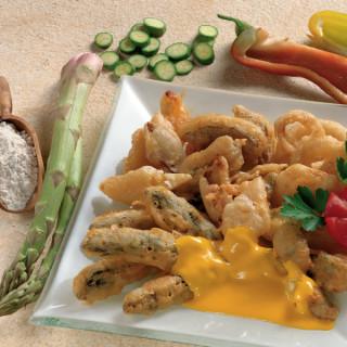 Fritto misto di verdure con salsa allo zafferano